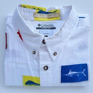 Columbia Mens Sailing Fish Casual Shirt Size L